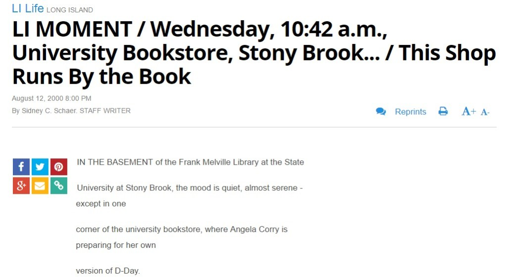 Newsday: LI MOMENT Wednesday 10 42 a.m. University Bookstore Stony Brook... This Shop Runs By the Book