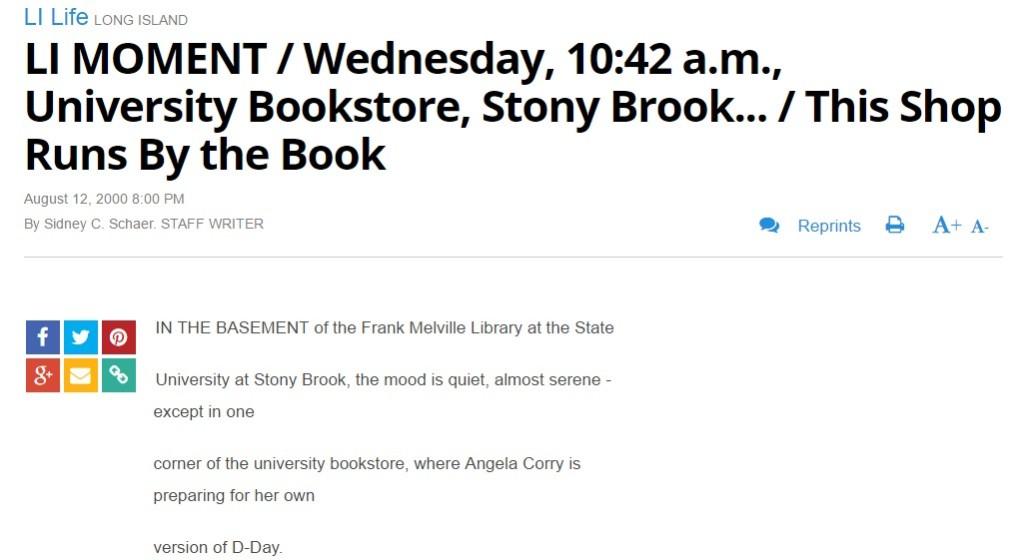Newsday: LI MOMENT Wednesday 10 42 a.m. University Bookstore Stony Brook... This Shop Runs By the Book
